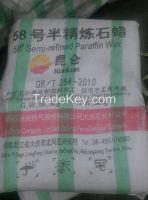 KunLun Brand Fully,semi Refined Paraffin Wax 52/54/56/58/60/62