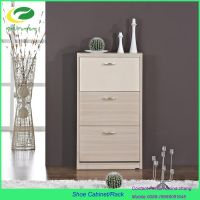 2016 modern wooden shoe cabinet with 3 drawer
