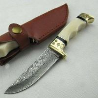 Custom handmade Damascus engraved knife