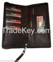 Brown & Black Leathertravel Holder Wallet: Passport Cum Credit Card Organizer
