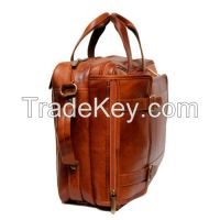 BBusiness Men Genuine Leather Brown Backpack cum Horizontal Laptop Office Bag