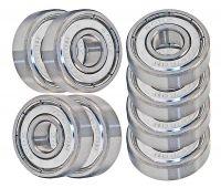 Skateboard Bearings, Double Shielded, Silver