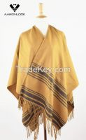 Hot Selling Stripe Pattern Big Woven Shawl with Fringes