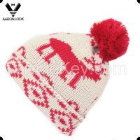 2016 new fashion deer jacquard pattern beanie hat with pompom