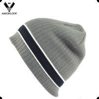 2016 high quality fashion stripe men's knitted beanie