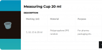 Measuring cup 10 ml / 15 ml / 17 ml / 20 ml / 24 ml / 25 ml / 30 ml