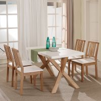 Nordic Style Dining Room Sets Solid Wood Table and Chairs