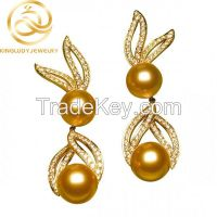 Lover Rabbit Shape Gold Color Pearl Earrings Fashion Jewelry