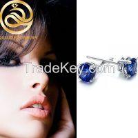 Blue Sapphire Cubic Zircon Stud Earrings For Daily Wear