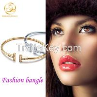 Popular Panyu Factory T Letter Thin Open Bangle For Girls