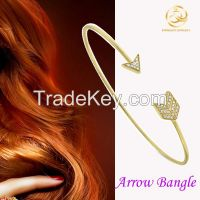 New Arrival Yellow Gold Plating Arrow Thin Line Fashion Bangle