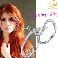 Rhodium Plated CZ Two Finger 925 Sterling Silver Ring