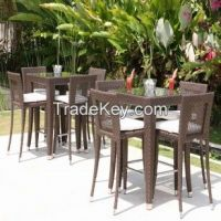 Skyline Designs Rattan Outdoor Madison Square Bar stools and Table Set at Posh Garden Furniture UK