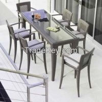 Skyline Designs Madison Rattan Rectangular 6 Seat Bar Stool and Table Set | Posh Garden Furniture UK