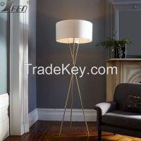 Carbon steel+ Fabric standing tripod floor light for ho