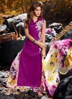 Scintillating Purple Embroidered Work Designer Suit