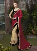 Exotic Red and Beige Half Saree