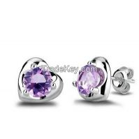 Fashion heart stud earring with cz stones