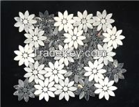 White Carrara Flower Shape Mosaic for Interior Decoration
