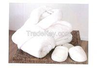 White Waffle Robe, Bath Robe & Slippers