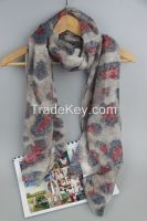 Newest Fashion Rose Printing Voile Lady Scarf