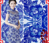 Chinese silk cheongsam ancient Chi-pao fabric blue & white pattern green Flower