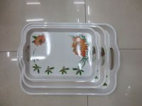 melamine try with decal fruit tray with handle