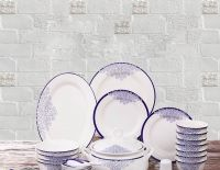 Relief Blue and White Bone China Dinner Set 28PCS or 56PCS