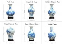 Blue and White Landscape Porcelain Vase