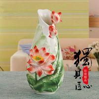 Embossed Lotus Porcelain Enamel Vase