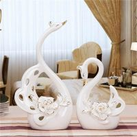 Pair of White Swan Porcelain Figurines for Home Decoration and Weddings
