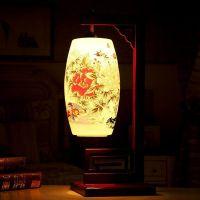 Vintage Lantern Shaped Famille Rose Porcelain Lamp With Wooden Frame