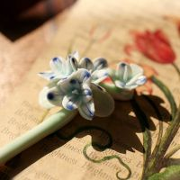 Blue and White Orchid Flower Porcelain Hairpins