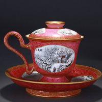 High Quality Handmade Carmine Red Glaze Porcelain Princess Cup Painted Snow Scene