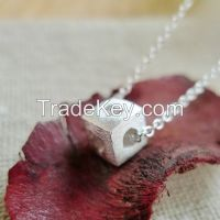 Heart cubic silver necklace, Sterling Silver 925 nacklace, heart in leaf nacklace