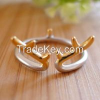 hot item!! Sterling Silver 925 Ring, double color, reindeer horn open ended ring, modern and fashion, quite good quality