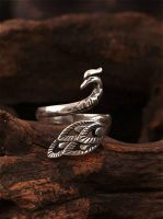 Phoenix silver 925 ring, gift for her, Sterling Silver Spoon Ring, Phoenix Tails, Phoenix feather, Petite Ring, Adjustable Ring Size, retro
