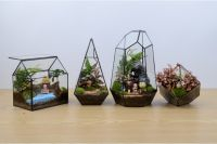 Micro landscape glass greenhouse, Small Terrarium Cube, Stained glass vase, glass decoration, candle holder, stained glass cube