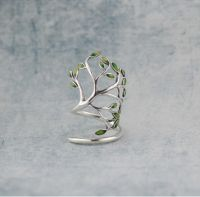 Silver Tree Ring,Sterling silver ring,enamel ring,silver and enamel ring,Vintage Ring,gift woman,green tree ring,tree jewelry,adjustable