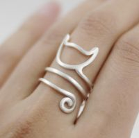 Cute Cat silver wire Ring, Silver Ring, Handmade cat face ring, size adjustable, wire ring, cat jewelry, wire jewelry, gift for her, Silver 925