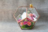 Mini landscape glass greenhouse, Small Terrarium Cube, Stained glass vase, glass decoration, candle holder, stained glass cube, indoor decor