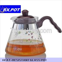Elegent transparent heat-resistant glass tea pot