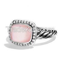 David Yurman 8X10MM Rose Quartz Noblesse Ring