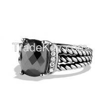 David Yurman 10x8mmPetite Wheaton Ring with Hematine