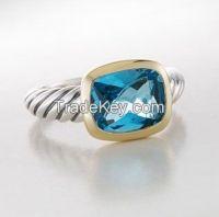 David Yurman 8X10MM BlueTopaz Noblesse Ring