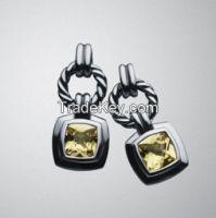 David Yurman 7mm Lemon Citrine Cushion Earrings