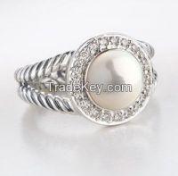 David Yurman 8mm Pearl Diamond Albion Petite Ring