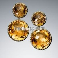 David Yurman Two-Drop Citrine Chatelaine Earrings 8mm and 12mm