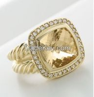 David Yurman 11mm gold Champagne Citrine Albion Ring