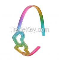 2 heart rainbow headband